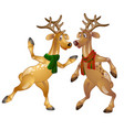 figures of dancing christmas deer in scarves vector image