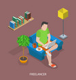 freelancer flat isometric concept vector image