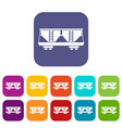 freight railroad car icons set vector image vector image