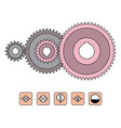 gear transmission with cylindrical teeth gear vector image vector image