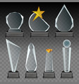 glass transparent trophy and award set vector image
