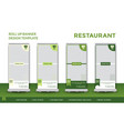 green restaurant roll up design template vector image vector image
