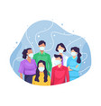 group people wearing medical mask vector image