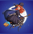 halloween beautiful witch redhead woman with hat vector image