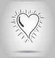hand drawn heart icon on isolated background vector image vector image
