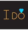 I do Gold wedding ring with blue diamond vector image