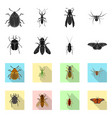 isolated object of insect and fly icon collection vector image vector image