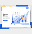 landing page template sketching and drawing vector image