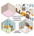 living room interior constructor flat vector image