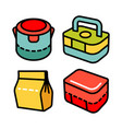 lunchbox outline icon set 2 vector image vector image