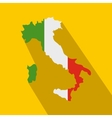 map italy with national flag icon flat style vector image vector image