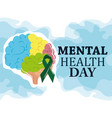 mental health day colored human brain ribbon vector image vector image