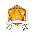 natural one d20 dice roll grunge sticker vector image vector image