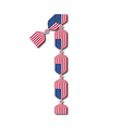 Number 1 made of USA flags in form of candies vector image vector image