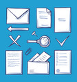 office paper and documentation icons set vector image vector image