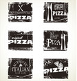 pizza labels collection vector image vector image