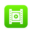 play film strip icon green vector image