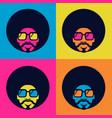retro disco dance poster 70s bright color vector image