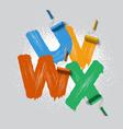 roller brush font vector image vector image