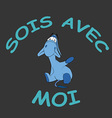Sad donkey waving hand with French text vector image vector image