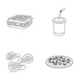 sandwich cola chips pizza fast food set vector image vector image