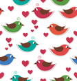Seamless pattern with cute birds and hearts vector image vector image