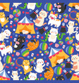 seamless pattern with funny circus cats cute vector image