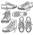 set bright sneakers isolated on white vector image