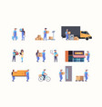 set couriers in different working situations vector image