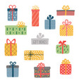 set different colorful wrapped gift vector image