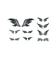 set various wing silhouette wing symbol vector image vector image