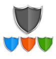 shiny metallic shield symbols badges set vector image vector image