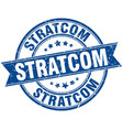 stratcom round grunge ribbon stamp vector image vector image