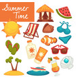 summer time objects vacation and holidays beach vector image vector image