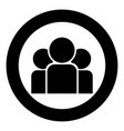 team people icon black color in circle round vector image vector image
