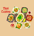 thai cuisine dinner with asian dishes icon vector image