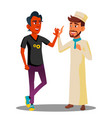 two teenagers giving five to each other arab vector image