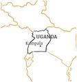 Uganda hand-drawn sketch map vector image