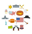 usa icons set flat style vector image