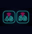 4g and 5g neon signs icons vector image