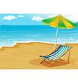 A seashore with a bench and an umbrella vector image vector image