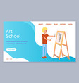 art school web page boy drawing woman on canvas vector image vector image