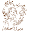 Background with mother and baby and flowers vector image vector image