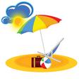 beach paradise with beach stuff cartoon vector image vector image