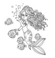 beautiful mermaid girl sends an kiss outlined vector image vector image