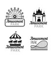black amusement park emblems vector image