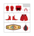 boxing set collection champion gloves and vector image vector image