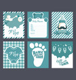 boy blue baby shower invitation greeting cards vector image