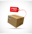 cardboard box with free shipping label vector image