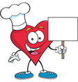 Cartoon heart holding a sign vector image vector image
